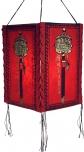 Lokta Papier Hänge-Lampenschirm, Deckenleuchte aus handgeschöpftem Papier, Gebetsmühle - rot