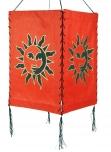 Lokta Papier Hänge-Lampenschirm, Deckenleuchte aus handgeschöpftem Papier - Sonne rot