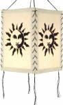 Lokta Papier Hänge-Lampenschirm, Deckenleuchte aus handgeschöpftem Papier - Sonne weiß