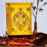 Lokta Papier Tischlampe, eckige Tischleuchte - Buddha Mandala gelb