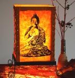 Lokta Papier Tischlampe, eckige Tischleuchte - Buddha Motiv orange