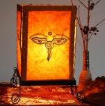 Lokta Papier Tischlampe, eckige Tischleuchte - Buddhas Auge orange