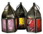 orientalische Metall/Glas Laterne in marrokanischem Design, Windlicht in 6 Farben