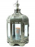 Orientalische Metall/Glas Laterne in marrokanischem Design, Windlicht silber