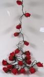 Papier Rosen LED Lichterkette 20 Stk. rot