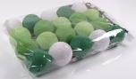 Stoff Ball Lichterkette LED Kugel Lampion Lichterkette - grün/weiß