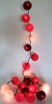 Stoff Ball Lichterkette LED Kugel Lampion Lichterkette - rot/braun