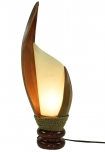 Palmenblatt Tischlampe / Tischleuchte, in Bali handgemacht aus Naturmaterial, Palmholz - Modell Palmera 5
