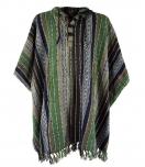 Poncho Hippie chic, Andenponcho - grün/schwarz