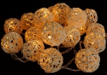 Rattan Ball LED Kugel Lampion Lichterkette - natur