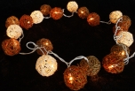 Rattan Ball LED Kugel Lampion Lichterkette - schoko