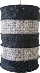 runde Papier Hängelampe, Lokta Papierlampenschirm Everest, handgeschöpftes Papier - schwarz/weiß
