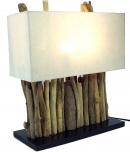 Tischleuchte / Tischlampe Okawango, in Bali handgemachtes Unikat aus Naturmaterial, Treibholz, Baumwolle - Modell Okawango
