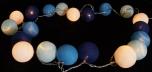 Stoff Ball Lichterkette LED Kugel Lampion Lichterkette - blau/weiß