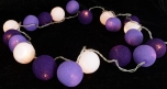 Stoff Ball Lichterkette LED Kugel Lampion Lichterkette - lila
