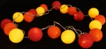 Stoff Ball Lichterkette LED Kugel Lampion Lichterkette - rot/gelb