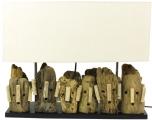 Tischlampe / Tischleuchte Matuba, handgefertigtes Unikat aus Naturmaterial, Treibholz, Baumwolle - Modell Matuba
