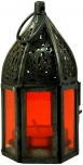 orientalische Metall/Glas Laterne in marrokanischem Design, Windlicht klein in 6 Farben