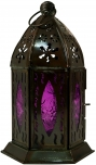 orientalische Metall/Glas Laterne in marrokanischem Design, Windlicht in 5 Farben.
