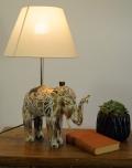 Tischlampe / Tischleuchte Elefant, in Bali handgemacht aus Naturmaterial