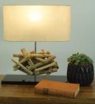 Tischlampe / Tischleuchte Leon, in Bali handgemachtes Unikat aus Naturmaterial, Treibholz, Baumwolle - Modell Leon