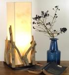 Tischleuchte / Tischlampe Lesotho, in Bali handgemachtes Unikat aus Naturmaterial, Treibholz, Baumwolle - Modell Lesotho