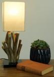 Tischleuchte / Tischlampe Vigo,Treibholz, Baumwolle, in Bali handgemacht aus Naturmaterial - Modell Vigo