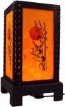 Transparente Deko Tischleuchte aus Holz & handgeschöpftem Papier - Bambus/orange