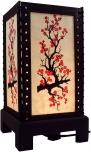 Transparente Deko Tischleuchte aus Holz & handgeschöpftem Papier - Blütenzweig