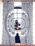 Vorhang, Gardine (1 Paar Vorhänge, Gardinen) mit Schlaufen, Mandala Motiv - weiß/graublau