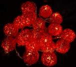 Rattan Ball LED Kugel Lampion Lichterkette - rot