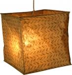 quadratische Papier Hängelampe, Papierlampenschirm Annapurna, handgeschöpftes Papier - weiß/braun