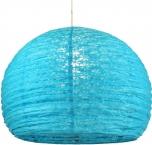 Halbrunder Lokta Papierlampenschirm, Hängelampe Corona Ø 40 cm - türkis