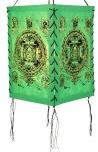 Lokta Papier Hänge-Lampenschirm, Deckenleuchte aus handgeschöpftem Papier - Buddha Mandala grün