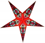 Faltbarer Advents Leucht Papierstern, Weihnachtsstern, Medusa rot- türkis