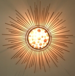 Wandlampe / Wandleuchte Lakkadiva - in Bali handgefertigt aus Naturmaterial, Rattan, Capiz / Perlmutt