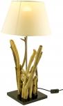 Tischleuchte / Tischlampe Bromea, in Bali handgemachtes Unikat aus Naturmaterial, Treibholz, Baumwolle - Modell Bromea