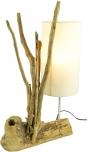 Tischleuchte Madura,  handgemacht aus Naturmaterial, Fuß aus Treibholzstücken, Lampenschirm aus Baumwolle