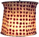 runde Papier Hängelampe, Papierlampenschirm Annapurna, handgeschöpftes Papier - weiß/rot