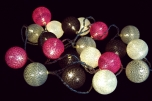 Stoff Ball Lichterkette Batterielichterkette 3xAA - grau/braun/rot