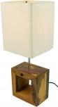 Tischleuchte Nakita, handgemacht, Fuß aus recyceltem Holz, Lampenschirm aus Baumwolle