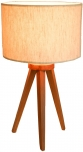 Tischleuchte Dakama 50, im Retrodesign handgemacht, Fuß ausTeakholz, Lampenschirm aus Baumwollstoff