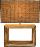 Tischlampe / Tischleuchte Deweso, handgemacht, Fuß aus recyceltem Holz, Lampenschirm aus Geflechtstoff