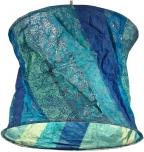 runde Papier Hängelampe, Papierlampenschirm Annapurna, handgeschöpftes Papier - blau/gestreift