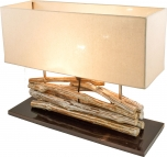 Tischlampe / Tischleuchte Matadi, in Bali handgemachtes Unikat aus Naturmaterial ,Treibholz, Baumwolle - Modell Matadi