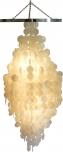 Deckenlampe / Deckenleuchte Tulum, Muschelleuchte aus hunderten Capiz, Perlmutt-Plättchen