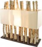 Tischleuchte Tabanan,  handgemacht aus Naturmaterial, Fuß aus Treibholzstücken, Lampenschirm aus Baumwolle