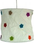 runde Papier Hängelampe, Lokta Papierlampenschirm Annapurna, handgeschöpftes Papier - weiß/bunt Blümchen