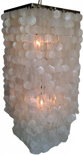 Ceiling Lamp/Ceiling Lamp, Shell Lamp made of hundreds of capiz, mother of pearl plates - Model Sabah long chrome - 100x40x40 cm
