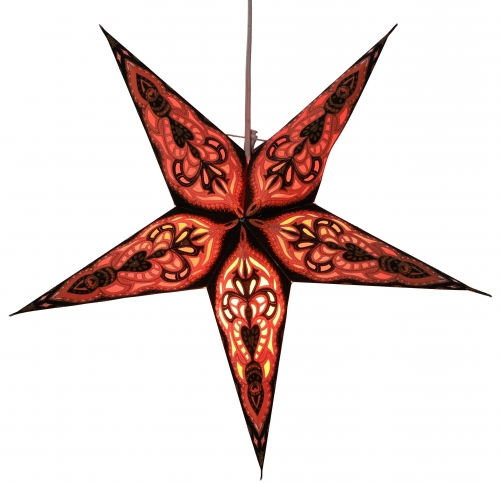 Foldable Advent illuminated paper star, Poinsettia 40 cm - Mansur black/orange
